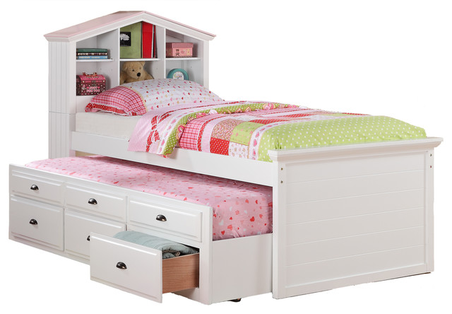 Kids Twin Storage Captain Bed W/Bookcase Headboard/Trundle Drawer, White - Modern - Baby And ...