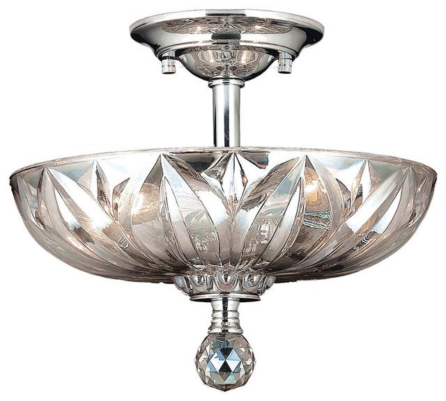 Contemporary 3 Light Chrome Finish Crystal Semi Flush Mount Ceiling Light C