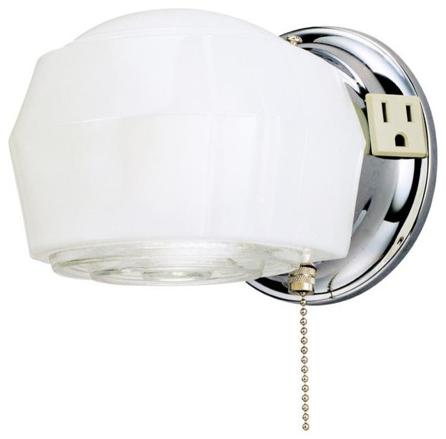 Wall Sconce With Switch And Outlet : One-Light Indoor Wall Fixture with Ground Convenience Outlet and Pull Chain - Wall Sconces - by ...