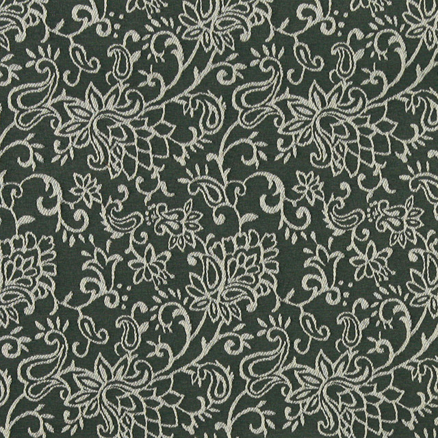 Green Contemporary Floral Designed Woven Upholstery