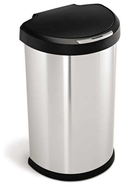 45 litre semi round sensor can modern trash cans by simplehuman. Black Bedroom Furniture Sets. Home Design Ideas