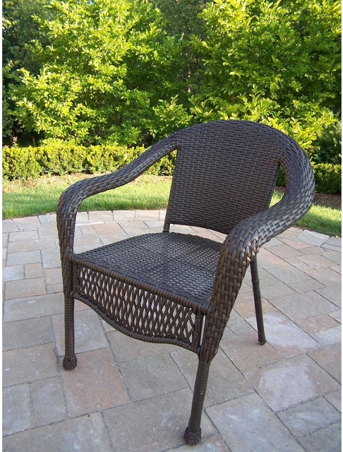 Oakland Living Resin Wicker Patio Dining Chair Coffee Modern Garden Din
