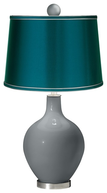Software - Satin Teal Ovo Table Lamp with Color Finial contemporary ...