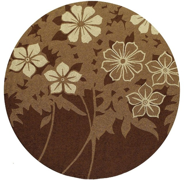 Indoor Outdoor Veranda Round 9 Round Brown Area Rug