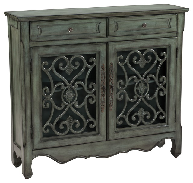 Grey Metal Scroll Two Door Cupboard - Traditional - Accent Chests And Cabinets - by Michael ...