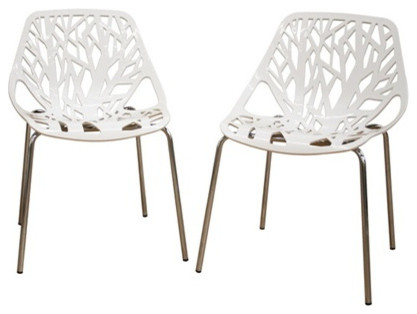 ABS White Plastic Stacking Dining Chair, Set of 2 contemporary-dining ...