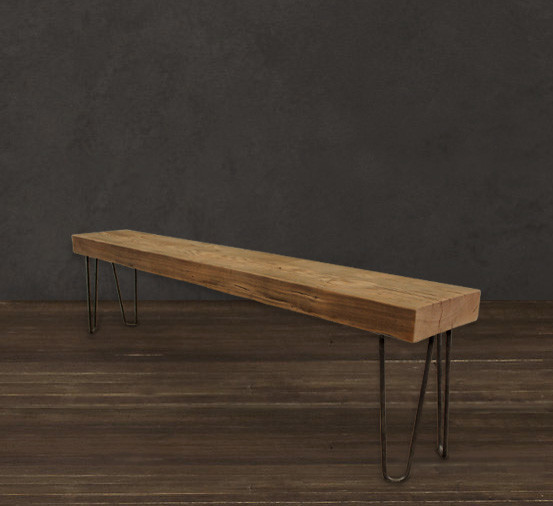 Solid wood beam bench 6 39 modern dining benches for Real wood box beams