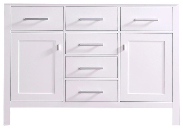 London 48 single sink base cabinet in white modern for 48 sink base kitchen cabinets