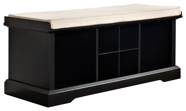 Traditional Foyer Bench : Brennan entryway storage bench black traditional
