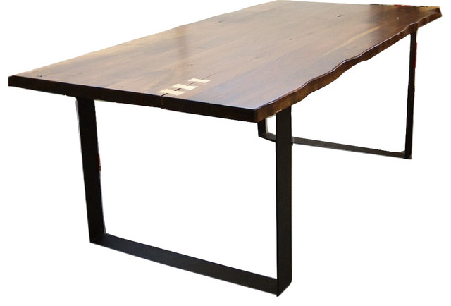 Walnut Dining Table Live Natural Edge With Flat Iron Legs