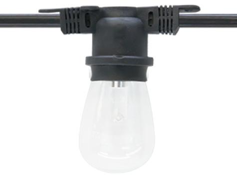 Commercial Light Strings - Medium Base, Black Wire, 48 Ft. String, Medium Base transitional ...