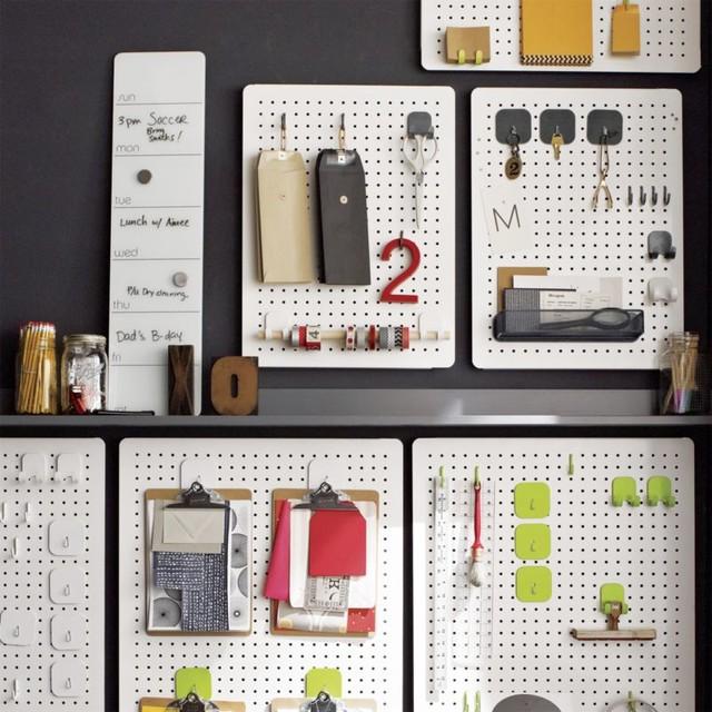 Three by three peggy board storage modern bulletin for Modern bulletin board