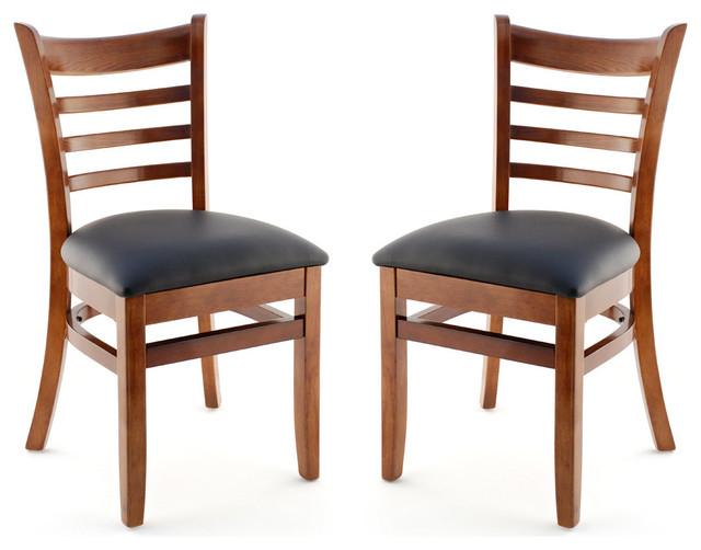 US Made Ladder Back Chair Set Of 2 Walnut Black Vinyl