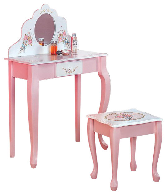 Teamson Design Bouquet Hand Painted Vanity Table And Stool