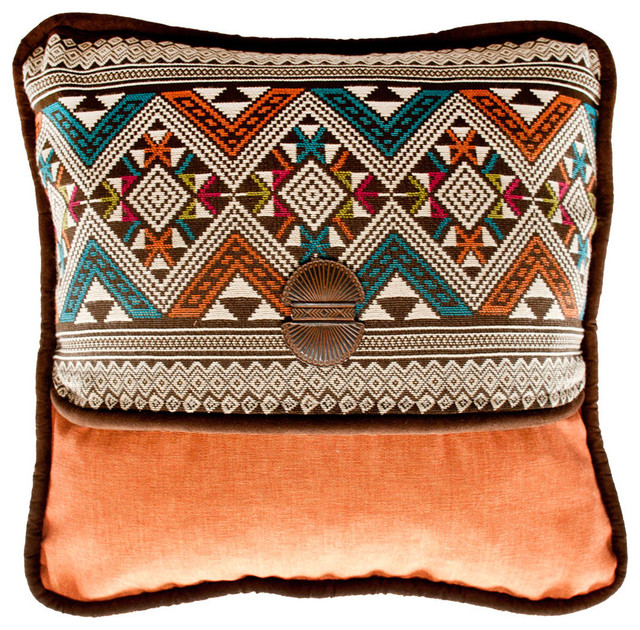 Southwestern Print Throw Pillows : Navarro & Panama Sienna Accent Pillow - Southwestern - Decorative Pillows - by Silverado Home