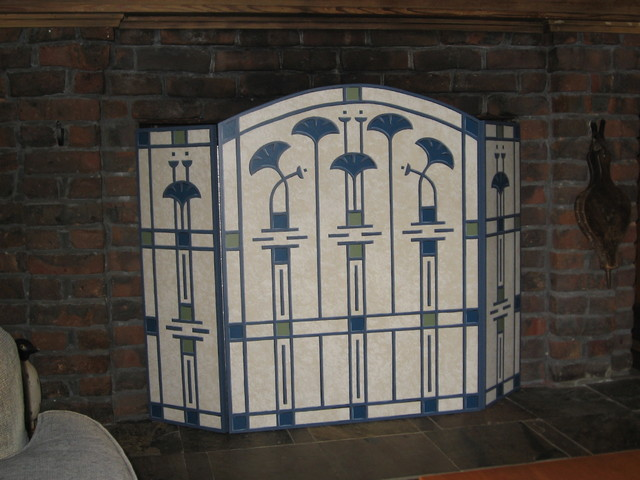 Hand Painted Fireplace Screen Traditional Fireplace Screens San Francisco By Designer Angle