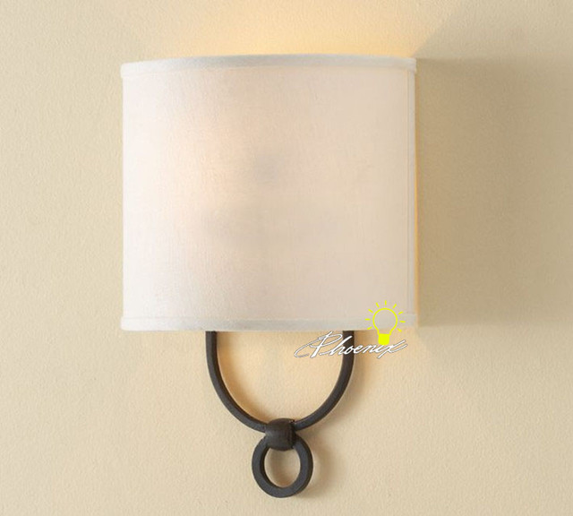 Wall Sconces Nyc: Antique Linen Shade Wall Sconce In Painted Finish