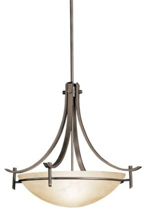 Kichler 3278OZ Olympia 3 Light Indoor Pendant With Bowl Shaped Glass Shade