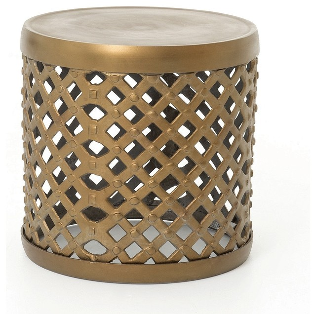Santiago Modern Burnished Brass Drum Coffee Table: Marlow Brass Drum Stool Side Table