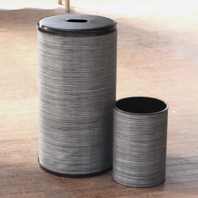 1530 lamont home black silver cambria round hamper and for Bathroom wastebasket sets