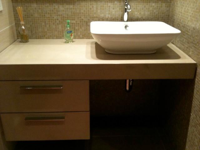 Vanity Side Splash : Concrete bathrooms contemporary vanity tops and side