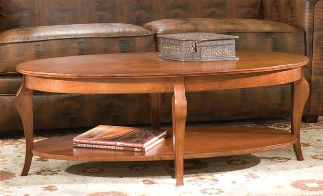 Oval French Leg Wood Cocktail Table In Cherry Finish Contemporary Coffee Tables By Shopladder