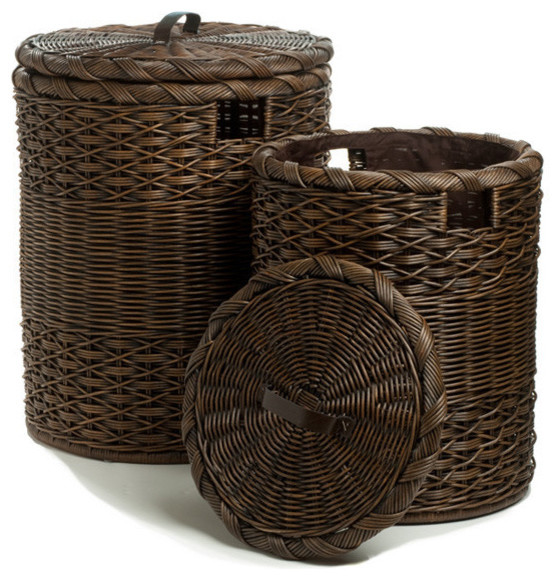 Round Wicker Hamper, Antique Walnut Brown, Extra Large - Traditional - Hampers - by The Basket Lady