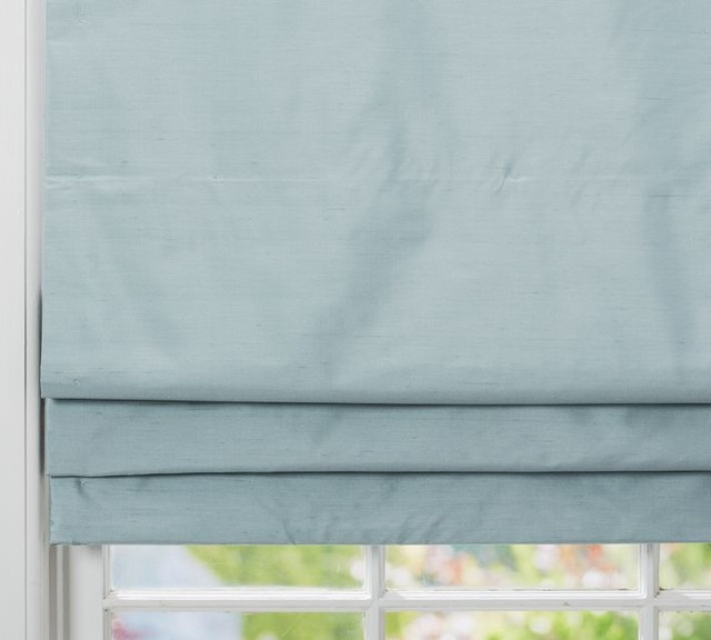 Dupioni Silk Cordless Roman Shade With Blackout Lining