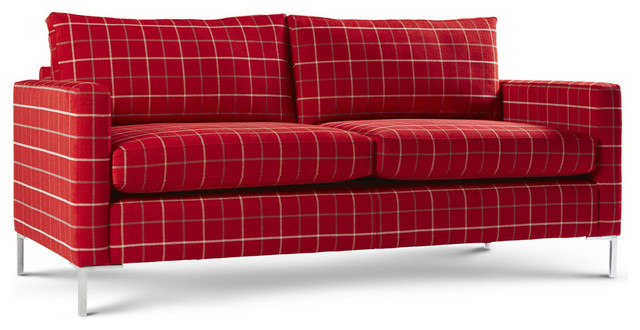 Metro Sofa Red Checkered