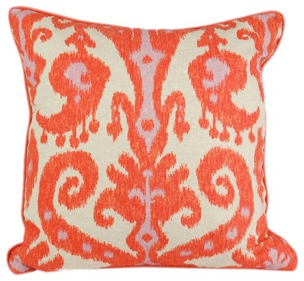 Pink And Orange Decorative Pillows : Orange and Pink Ikat Pillow - Transitional - Decorative Pillows - by Vanillawood