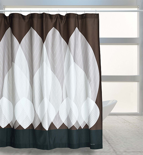 White leaves moderno tende da doccia new york di bath curtains - Tende da doccia ...