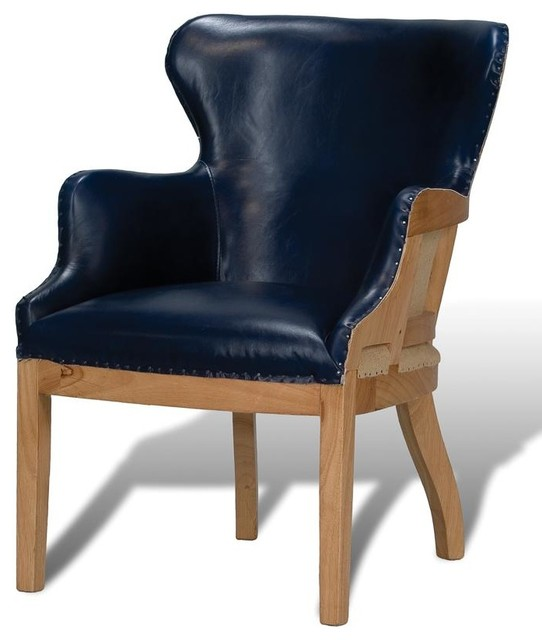 Arm Chair Chateau Blue Leather Traditional Armchairs