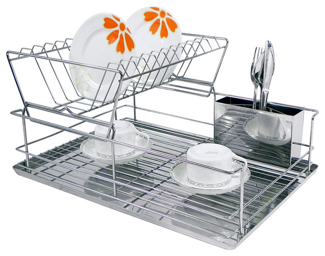 chrome stainless steel two tier dish rack contemporary dish drainers by zulily. Black Bedroom Furniture Sets. Home Design Ideas
