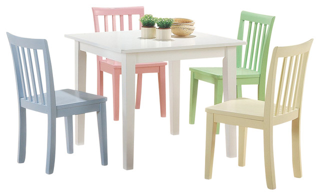 5 PC White Yellow Pink Blue Green Square Youth Table Chair