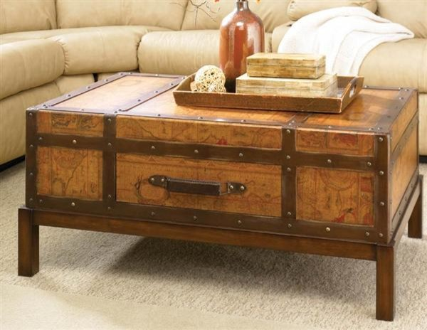 Old map trunk coffee table victorian coffee tables kansas city by victorian trading co Old trunks as coffee tables