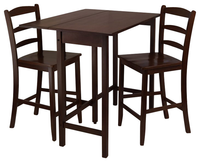 lynnwood 3 piece drop leaf high table with 2 counter ladder back stool chair transitional. Black Bedroom Furniture Sets. Home Design Ideas
