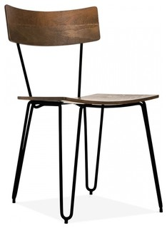 hairpin chair with wood seat black industrial dining
