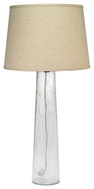 Pillar Table Lamp Clear Seeded Glass With Large Cone Shade Natural Linen