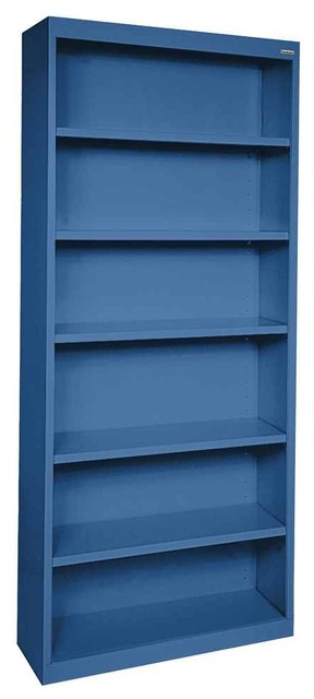34 in. Welded Steel Bookcase in Blue Finish - Contemporary - Bookcases - by ShopLadder