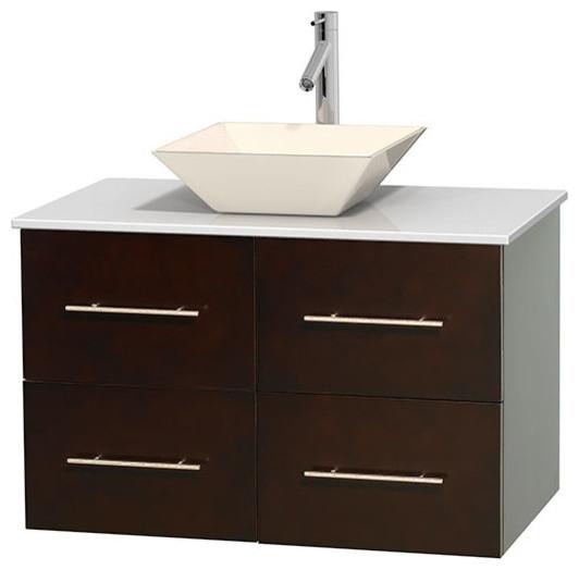 36 Single Bathroom Vanity In Espresso White Man Made Stone Countertop Sink Contemporary