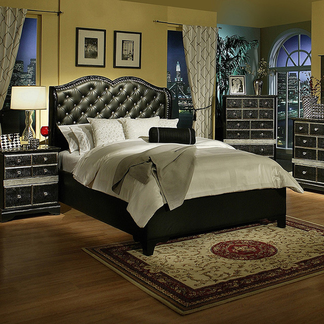 Sandberg Furniture Hollywood Glamour Black Chase Bed Contemporary Headboa