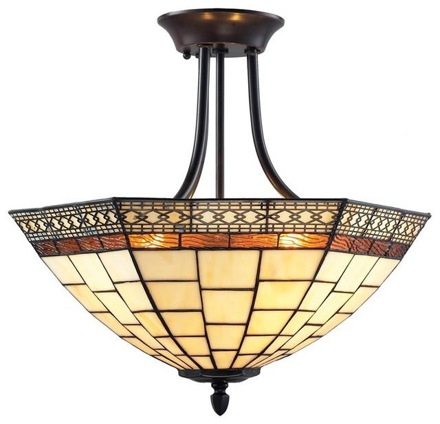Z lite prairie garden 3 light semi flush mount chestnut for Arts and crafts flush mount lighting