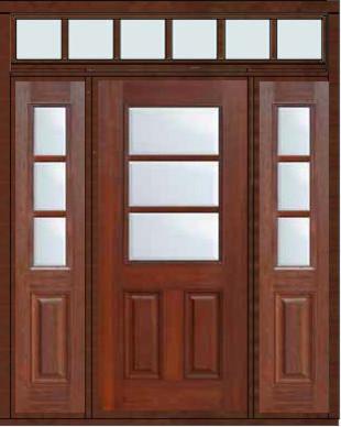Prehung Sidelights Transom Door 80 Fiberglass 1 2 Lite 3 Lite Traditional