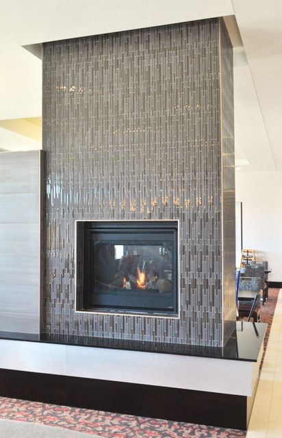 Akdo Chocolate Stagger Glass Fireplace Contemporary Indoor Fireplaces New York By Akdo