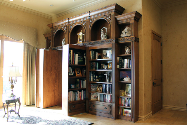 Ornate Bookcase Gun Safe Panic Room Storage And