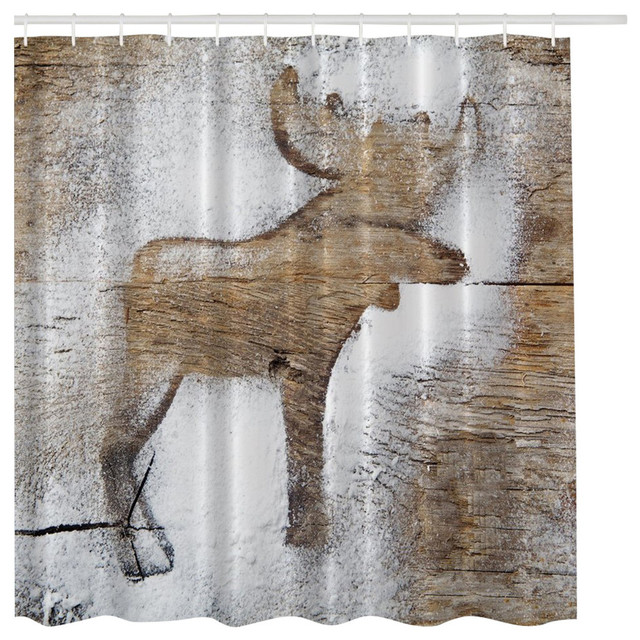 Rustic Winter Moose Holiday Christmas Fabric Shower