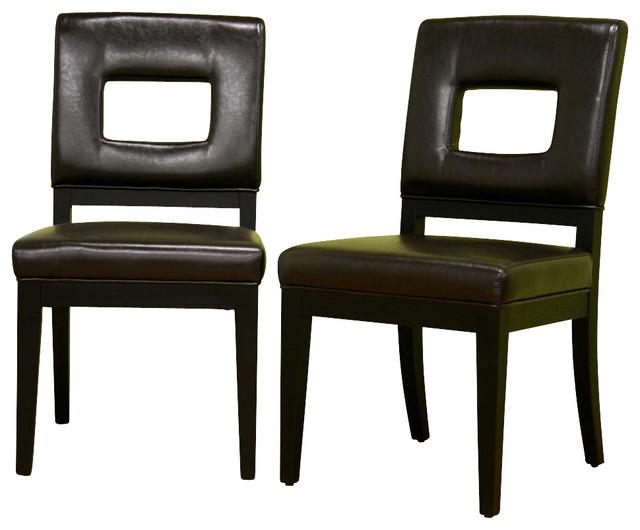 baxton studio diaz leather dining chair in dark brown