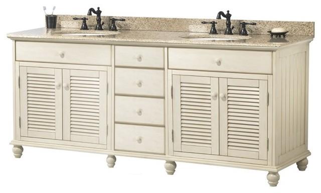 Foremost ctaat7222d cottage 72 double vanity set in - Antique white double sink bathroom vanities ...