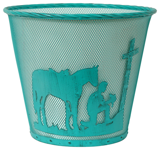 Turquoise praying cowboy waste basket rustic bedroom products by black forest decor for Bedroom waste baskets decorative