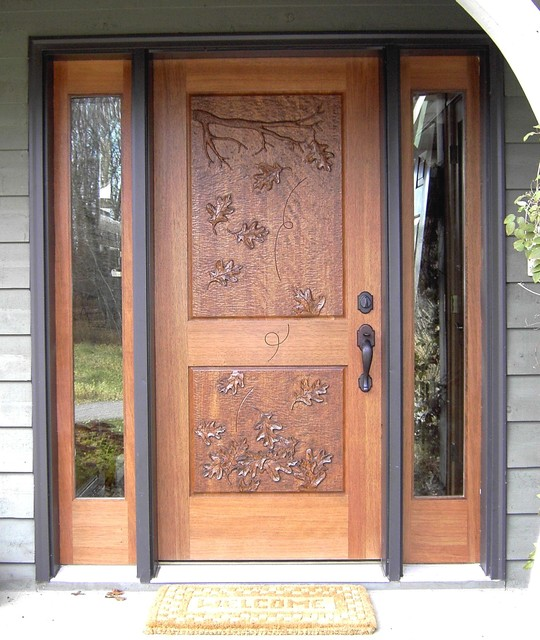 Mahogany entrance with hand carved door traditional for Traditional main door design